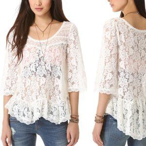NWT Free People Lily Ivory Scallop Lace Top S